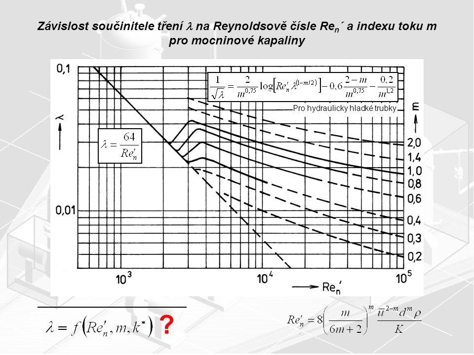 Závislost součinitele tření na Reynoldsově čísle Re n ´ a indexu toku m pro mocninové kapaliny ? Pro hydraulicky hladké trubky