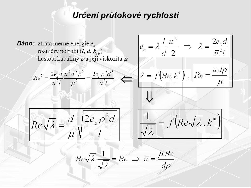 Určení průtokové rychlosti Dáno: ztráta měrné energie e z rozměry potrubí (l, d, k stř ) hustota kapaliny  a její viskozita   