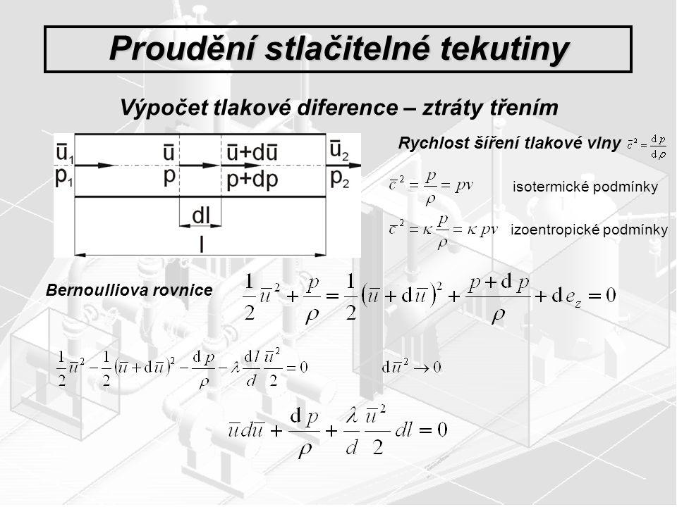 Proudění stlačitelné tekutiny Výpočet tlakové diference – ztráty třením Rychlost šíření tlakové vlny Bernoulliova rovnice isotermické podmínky izoentr