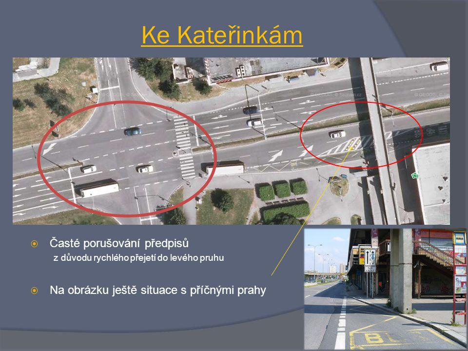  Časté porušování předpisů z důvodu rychlého přejetí do levého pruhu  Na obrázku ještě situace s příčnými prahy Ke Kateřinkám