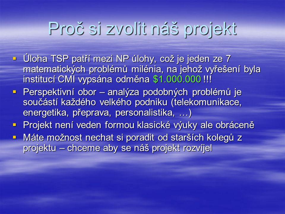 Proč si zvolit náš projekt  Úloha TSP patří mezi NP úlohy, což je jeden ze 7 matematických problémů milénia, na jehož vyřešení byla institucí CMI vyp