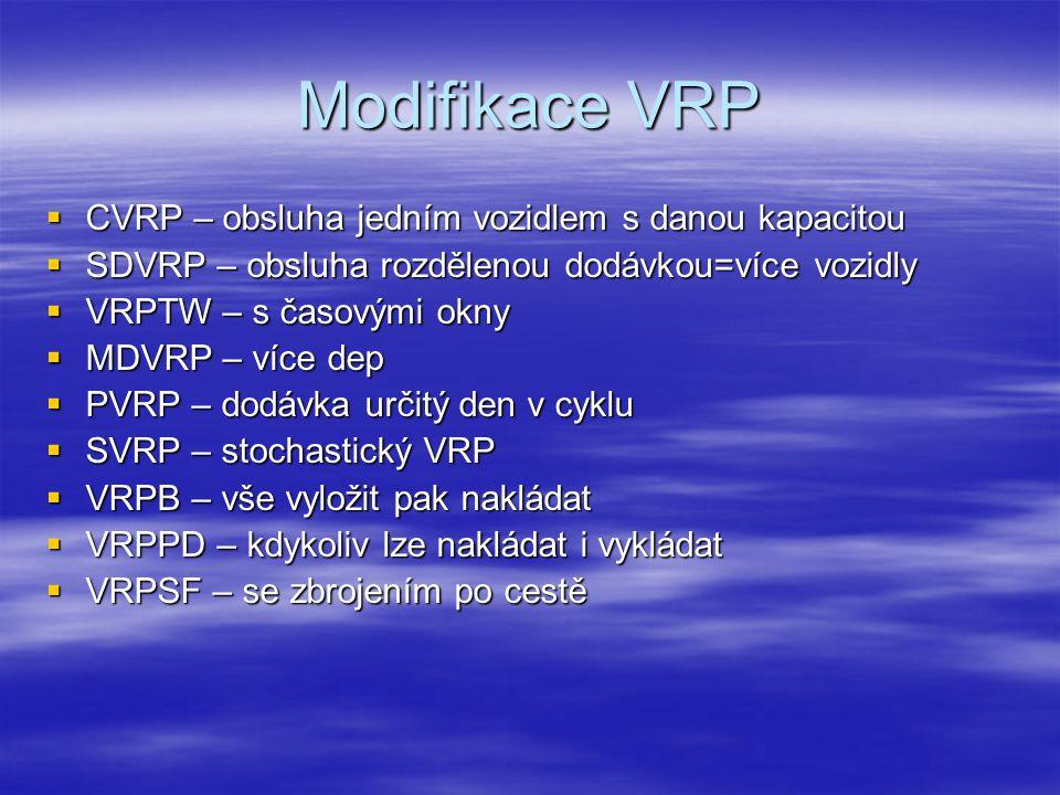 Modifikace VRP  CVRP – obsluha jedním vozidlem s danou kapacitou  SDVRP – obsluha rozdělenou dodávkou=více vozidly  VRPTW – s časovými okny  MDVRP