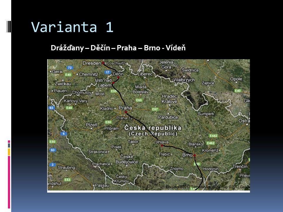 Varianta 1 Drážďany – Děčín – Praha – Brno - Vídeň
