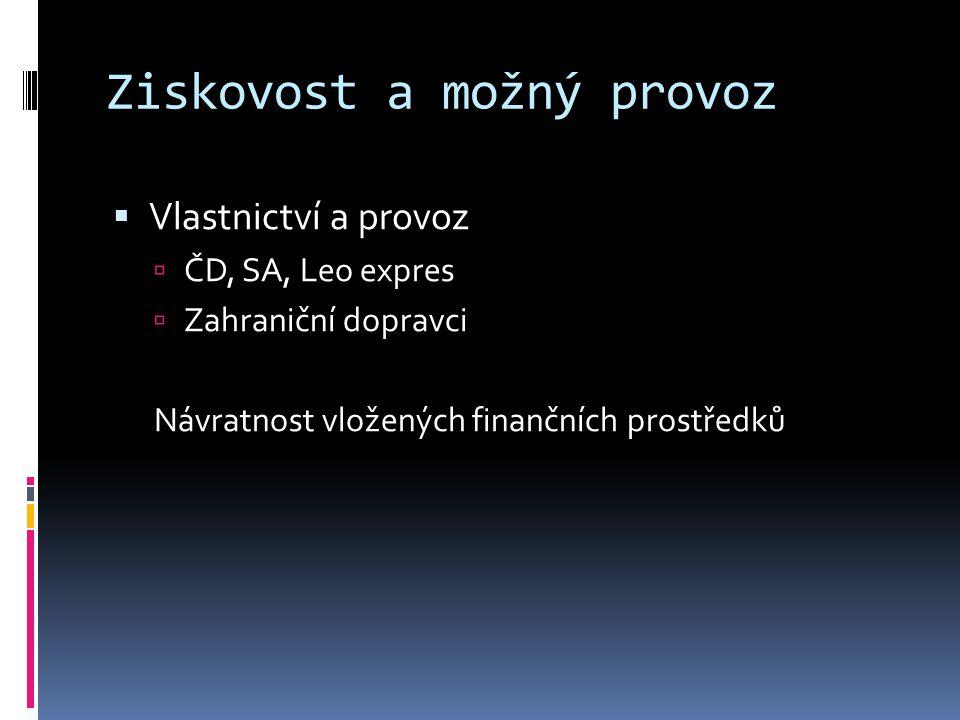 Ziskovost a možný provoz  Vlastnictví a provoz  ČD, SA, Leo expres  Zahraniční dopravci Návratnost vložených finančních prostředků