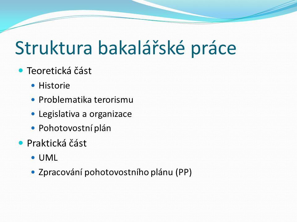 Struktura bakalářské práce Teoretická část Historie Problematika terorismu Legislativa a organizace Pohotovostní plán Praktická část UML Zpracování pohotovostního plánu (PP)
