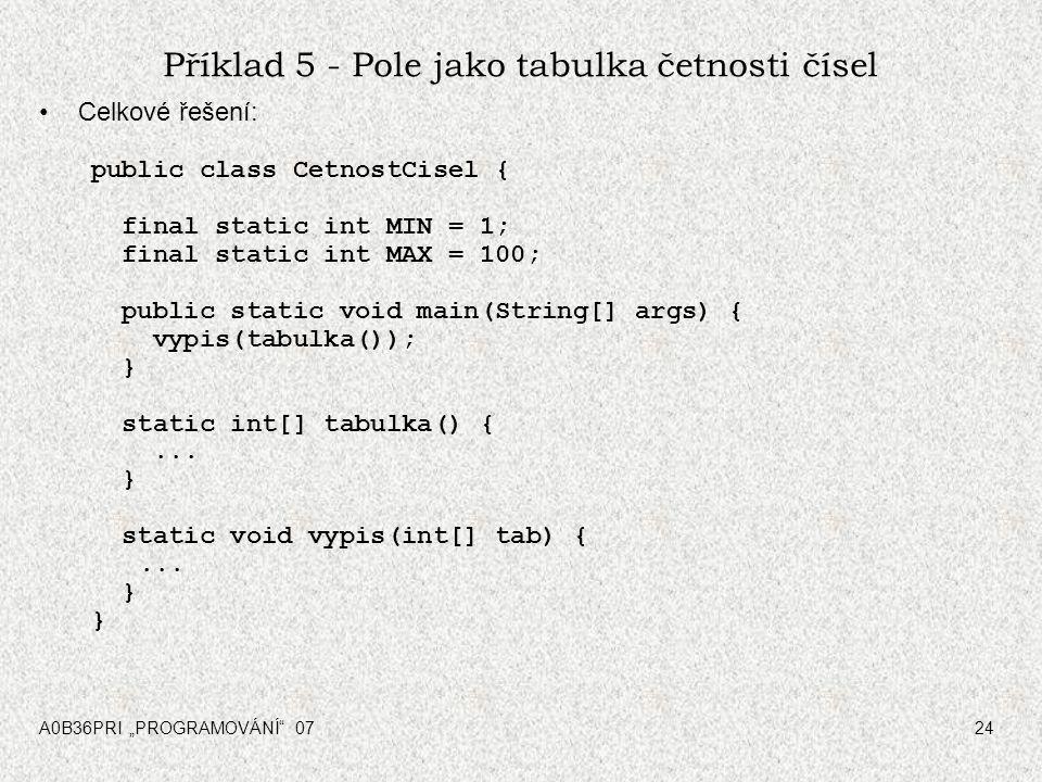 """A0B36PRI """"PROGRAMOVÁNÍ"""" 0724 Příklad 5 - Pole jako tabulka četnosti čísel Celkové řešení: public class CetnostCisel { final static int MIN = 1; final"""
