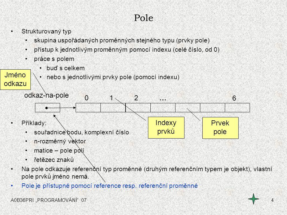 """A0B36PRI """"PROGRAMOVÁNÍ"""" 074 Pole Strukturovaný typ skupina uspořádaných proměnných stejného typu (prvky pole) přístup k jednotlivým proměnným pomocí i"""