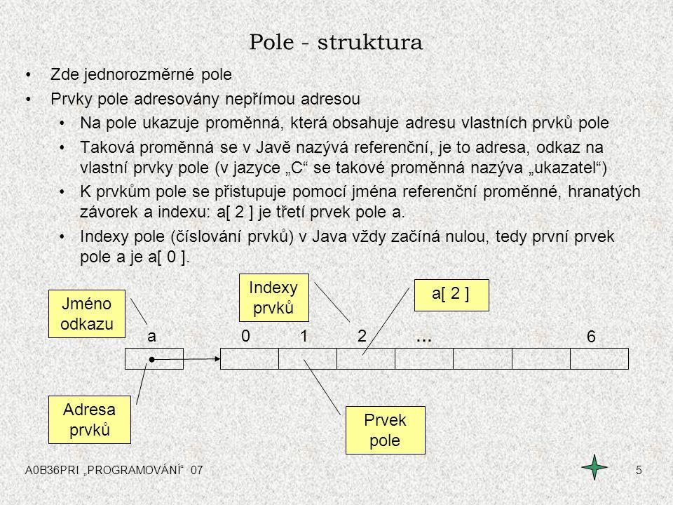 """A0B36PRI """"PROGRAMOVÁNÍ"""" 075 Pole - struktura Zde jednorozměrné pole Prvky pole adresovány nepřímou adresou Na pole ukazuje proměnná, která obsahuje ad"""