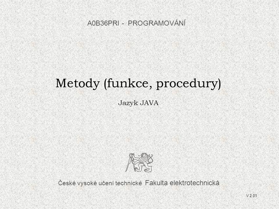 """A0B36PRI """"PROGRAMOVÁNÍ 0432 A0B36PR1 - 05 32 Hvězdičky - procedury static void hvezdickyln(int pocet){ for (int i=1; i<=pocet; i++) System.out.print( * ); System.out.println( ); } static void hvezdicky(int pocet) { for (int i=1; i<=pocet; i++) System.out.print( * ); } static void mezeryln(int pocet) { for (int i=1; i<=pocet; i++) System.out.print( ); System.out.println( ); } static void mezery(int pocet) { for (int i=1; i<=pocet; i++) System.out.print( ); }"""