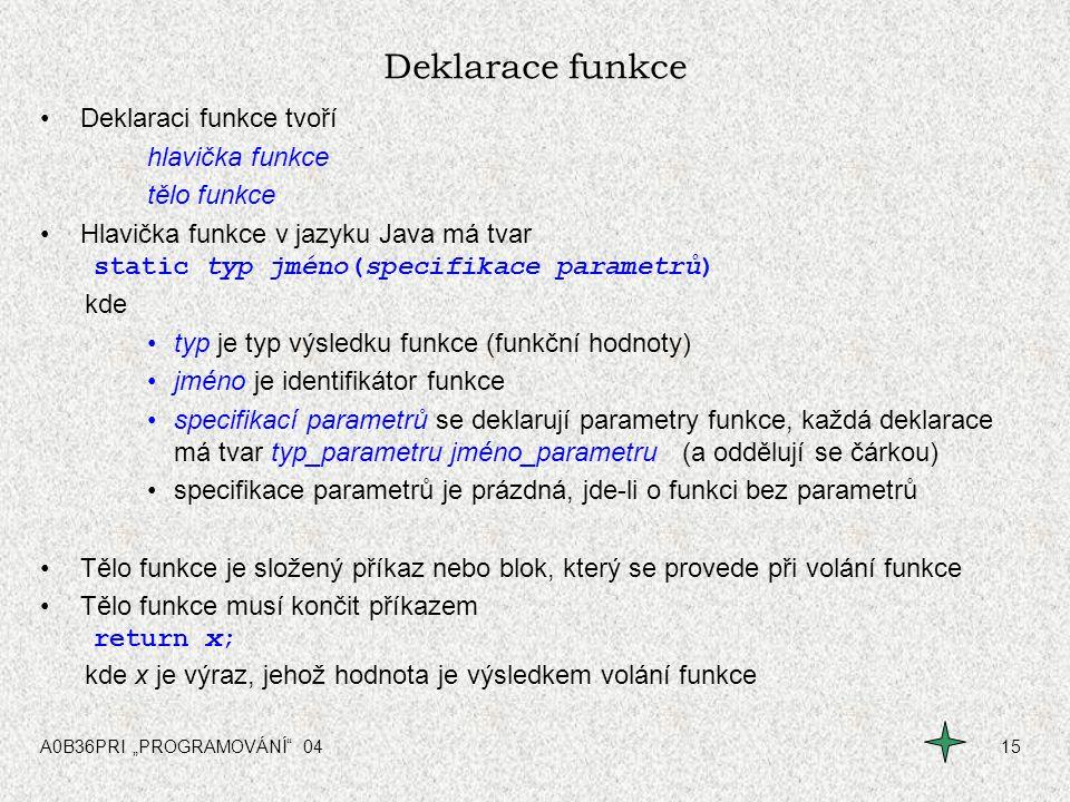 """A0B36PRI """"PROGRAMOVÁNÍ"""" 0415 Deklarace funkce Deklaraci funkce tvoří hlavička funkce tělo funkce Hlavička funkce v jazyku Java má tvar static typ jmén"""