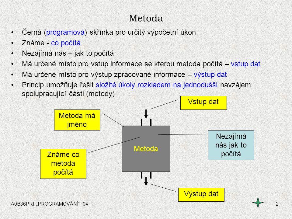 """A0B36PRI """"PROGRAMOVÁNÍ 043 Metoda bez vstupů Metoda nemusí mít vstup dat Má pouze výstup dat Např: Čtení hodnoty z klávesnice Výstupem metody – přečtená hodnota Metoda Výstup dat = přečtená hodnota Čtení hodnoty z klávesnice"""