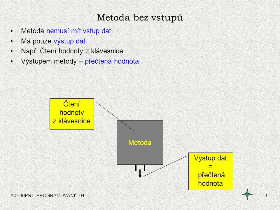 """A0B36PRI """"PROGRAMOVÁNÍ"""" 043 Metoda bez vstupů Metoda nemusí mít vstup dat Má pouze výstup dat Např: Čtení hodnoty z klávesnice Výstupem metody – přečt"""