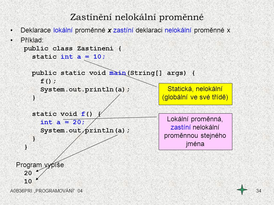 """A0B36PRI """"PROGRAMOVÁNÍ"""" 0434 Zastínění nelokální proměnné Deklarace lokální proměnné x zastíní deklaraci nelokální proměnné x Příklad: public class Za"""