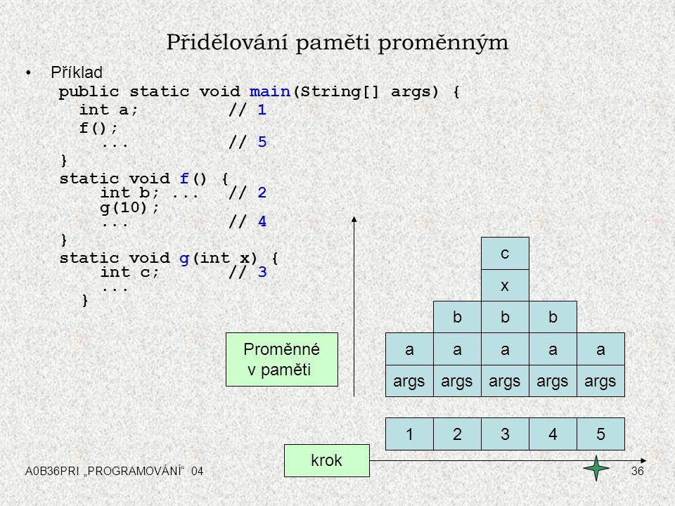 """A0B36PRI """"PROGRAMOVÁNÍ"""" 0436 Přidělování paměti proměnným Příklad public static void main(String[] args) { int a; // 1 f();...// 5 } static void f() {"""
