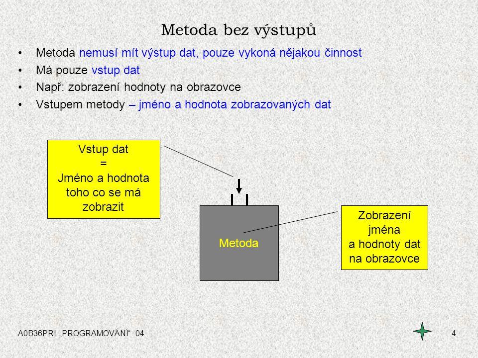 """A0B36PRI """"PROGRAMOVÁNÍ 045 Procedura Metoda - vstupní a výstupní data Metoda může mít více vstupních dat Metoda může mít i více výstupních dat –Funkce – je metoda, která má pouze jednu hodnotu – """"výstupní –Procedura – je metoda, která má definovány vstupní hodnoty a svou činnost nemívá žádná výstupní data FunkceProcedura Procedura – """"něco vykoná Funkce Funkce vždy pouze jednu výstupní hodnotu"""