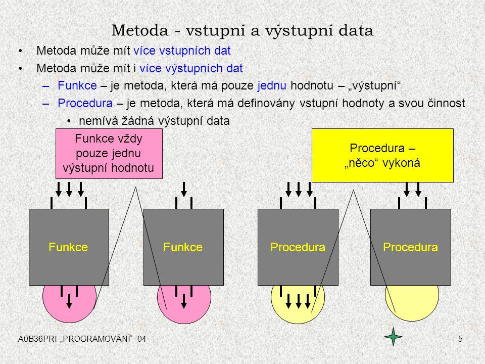 """A0B36PRI """"PROGRAMOVÁNÍ"""" 045 Procedura Metoda - vstupní a výstupní data Metoda může mít více vstupních dat Metoda může mít i více výstupních dat –Funkc"""