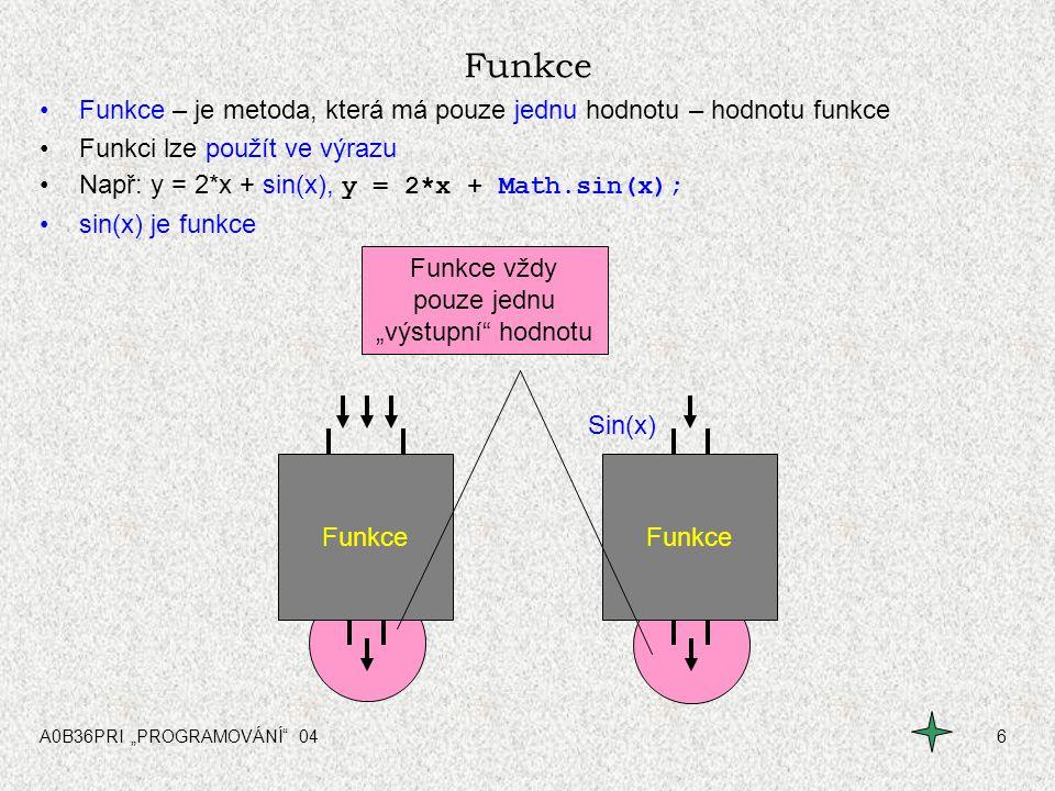 """A0B36PRI """"PROGRAMOVÁNÍ 0417 Struktura metody (funkce, procedury) static double funkceA ( int x ) { } Typ návratové hodnoty final double MIN = 1000.0; double v=1.0; int n; for( n=0; n<10; n++) { v = v * 4.5 + 305.9; } if( v > MIN ) v = v - 255.6; return v ; Formální parametr(y) funkce Lokální konstanty Lokální proměnné Kód funkce Návratová hodnota Hlavička funkce Začátek funkce Konec funkce Jméno funkce Zdrojový modul (soubor)"""
