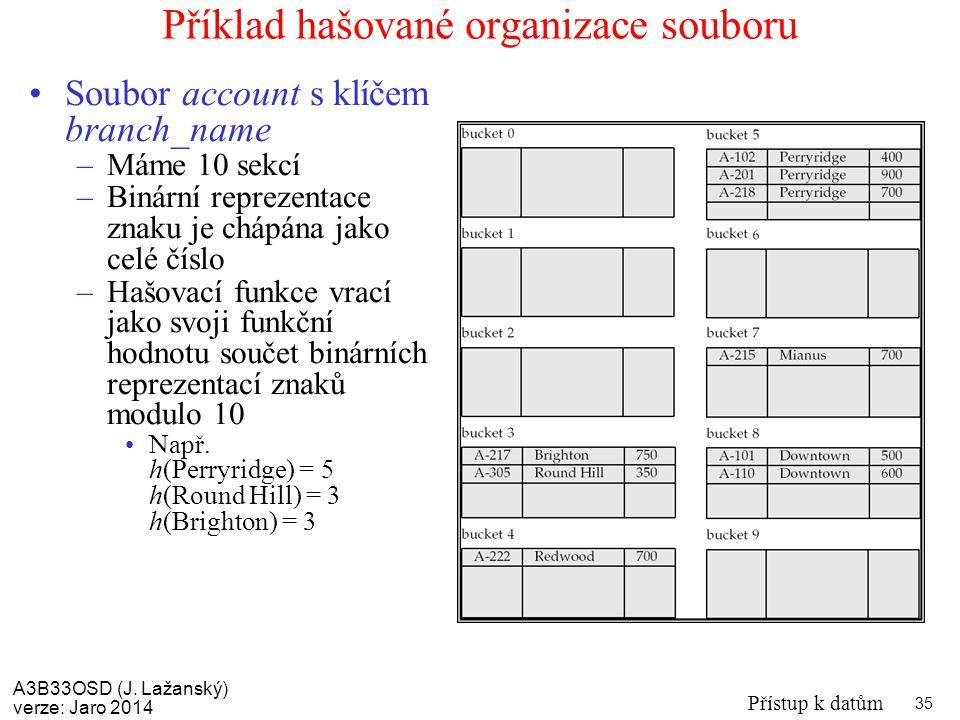 A3B33OSD (J. Lažanský) verze: Jaro 2014 Přístup k datům 35 Příklad hašované organizace souboru Soubor account s klíčem branch_name –Máme 10 sekcí –Bin