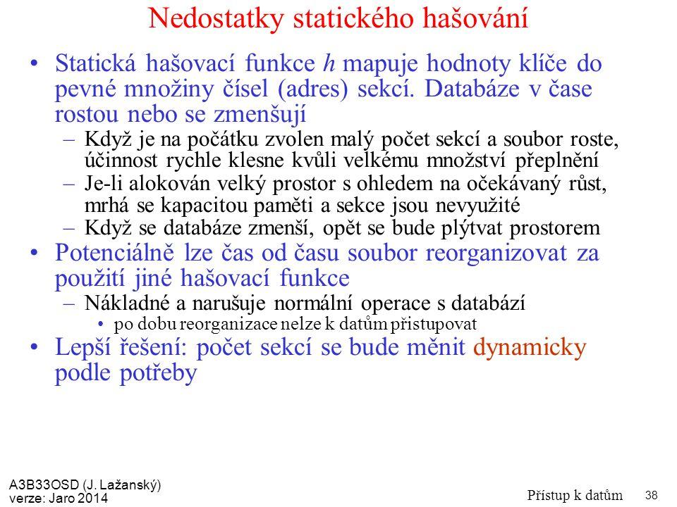 A3B33OSD (J. Lažanský) verze: Jaro 2014 Přístup k datům 38 Nedostatky statického hašování Statická hašovací funkce h mapuje hodnoty klíče do pevné mno
