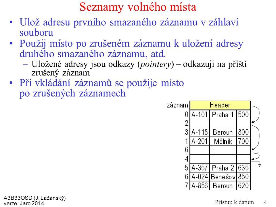 A3B33OSD (J. Lažanský) verze: Jaro 2014 Přístup k datům 4 Seznamy volného místa Ulož adresu prvního smazaného záznamu v záhlaví souboru Použij místo p