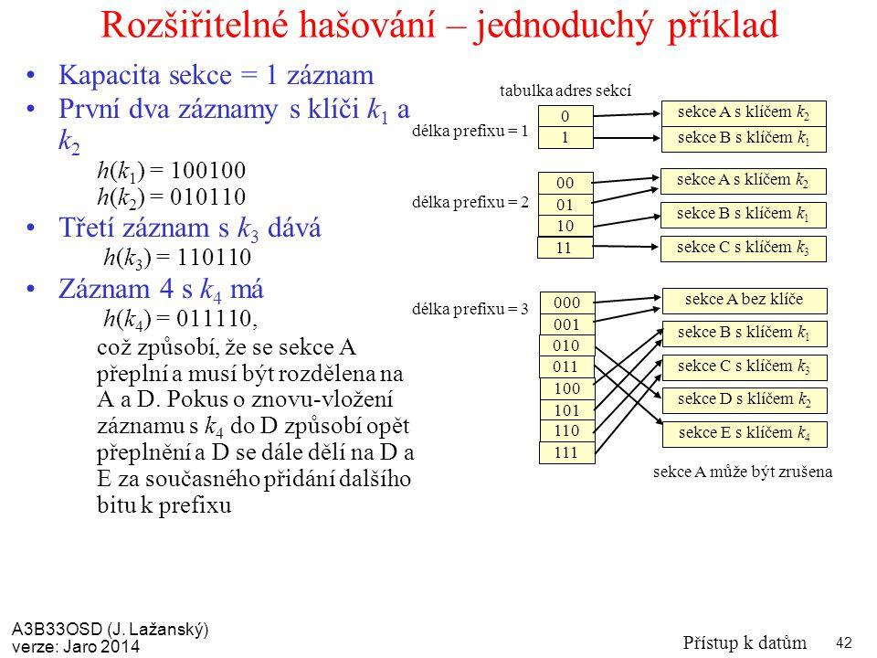 A3B33OSD (J. Lažanský) verze: Jaro 2014 Přístup k datům 42 Rozšiřitelné hašování – jednoduchý příklad Kapacita sekce = 1 záznam První dva záznamy s kl
