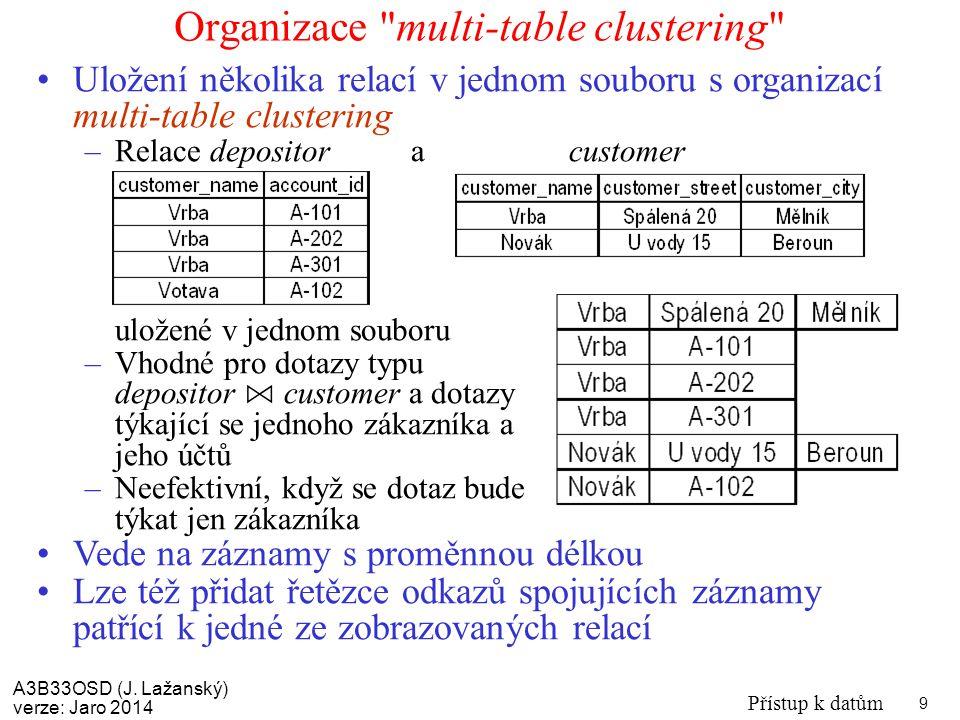 A3B33OSD (J. Lažanský) verze: Jaro 2014 Přístup k datům 9 Organizace