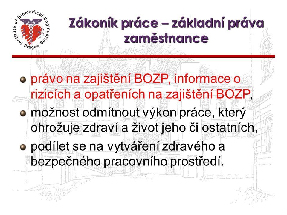 Zákoník práce – základní práva zaměstnance právo na zajištění BOZP, informace o rizicích a opatřeních na zajištění BOZP, možnost odmítnout výkon práce