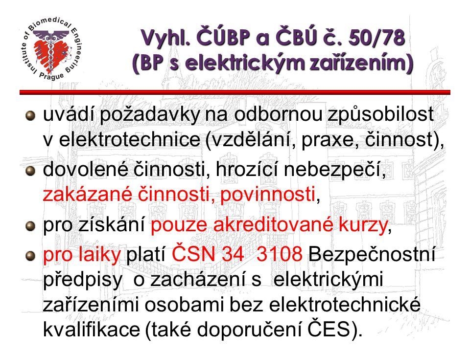 Vyhl. ČÚBP a ČBÚ č. 50/78 (BP s elektrickým zařízením) uvádí požadavky na odbornou způsobilost v elektrotechnice (vzdělání, praxe, činnost), dovolené