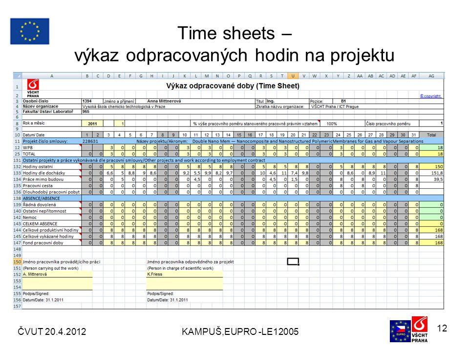 Time sheets – výkaz odpracovaných hodin na projektu ČVUT 20.4.2012KAMPUŠ,EUPRO -LE12005 12