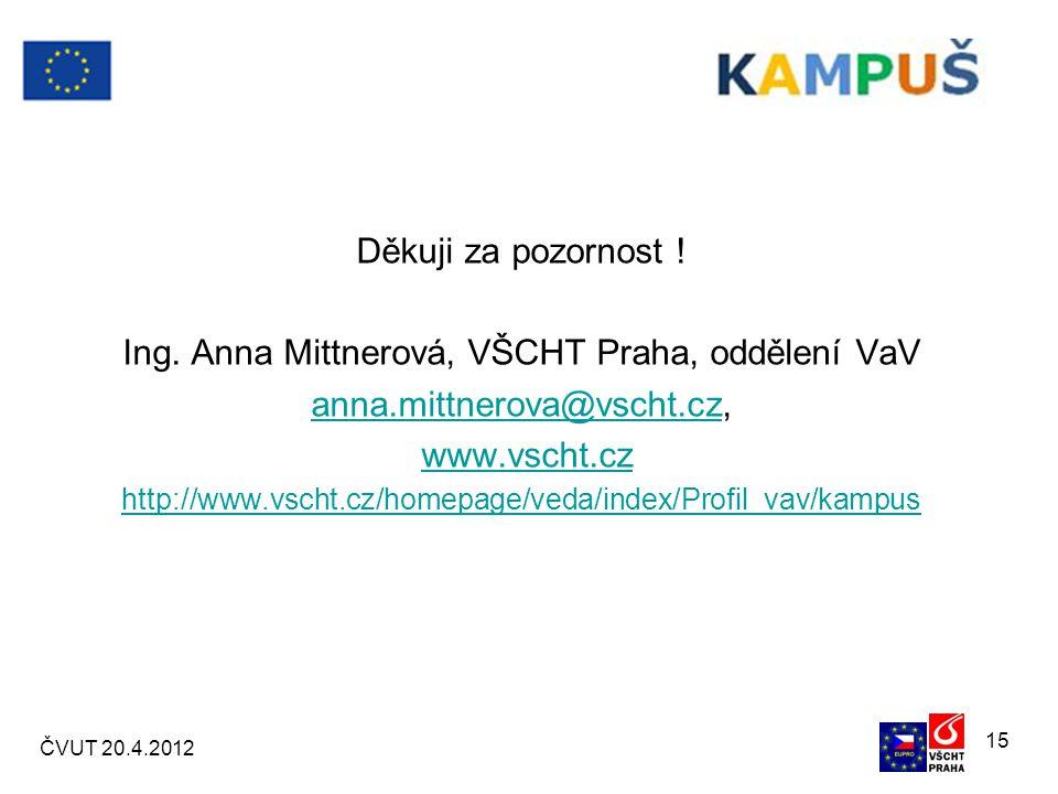 ČVUT 20.4.2012 15 Děkuji za pozornost . Ing.