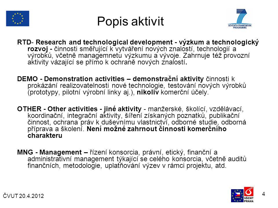 ČVUT 20.4.2012 4 Popis aktivit RTD- Research and technological development - výzkum a technologický rozvoj - činnosti směřující k vytváření nových znalostí, technologií a výrobků, včetně managemnetu výzkumu a vývoje.