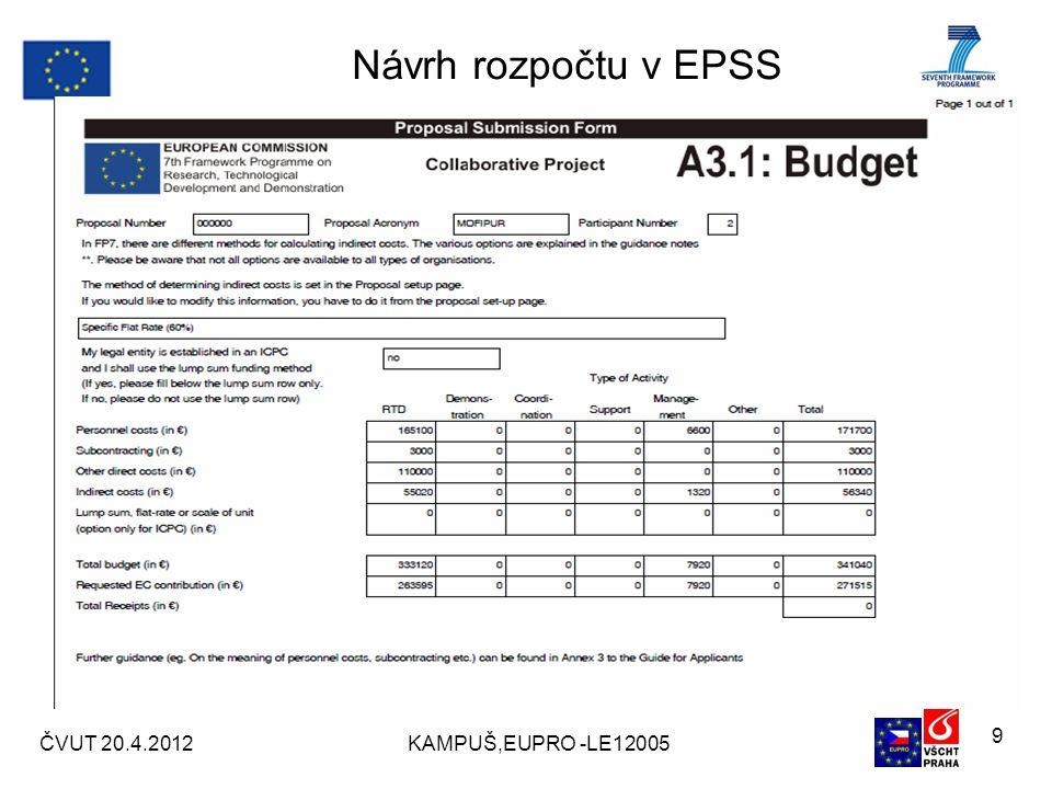 Návrh rozpočtu v EPSS ČVUT 20.4.2012KAMPUŠ,EUPRO -LE12005 9