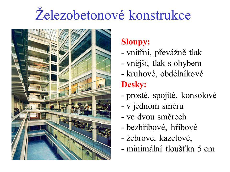 Železobetonové konstrukce Sloupy: - vnitřní, převážně tlak - vnější, tlak s ohybem - kruhové, obdélníkové Desky: - prosté, spojité, konsolové - v jedn