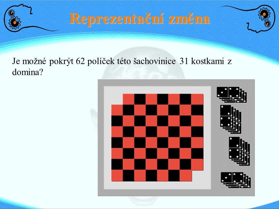 Reprezentační změna Je možné pokrýt 62 políček této šachovinice 31 kostkami z domina?