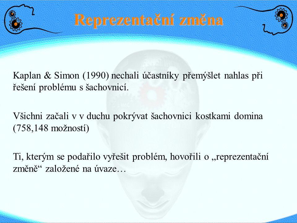 Reprezentační změna Kaplan & Simon (1990) nechali účastníky přemýšlet nahlas při řešení problému s šachovnicí. Všichni začali v v duchu pokrývat šacho