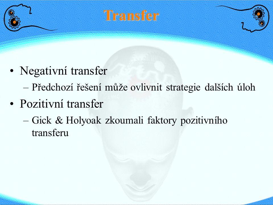 Transfer Negativní transfer –Předchozí řešení může ovlivnit strategie dalších úloh Pozitivní transfer –Gick & Holyoak zkoumali faktory pozitivního tra