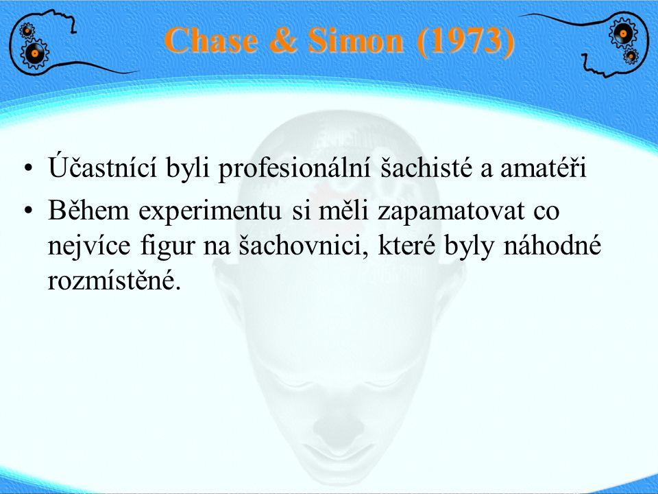 Chase & Simon (1973) Účastnící byli profesionální šachisté a amatéři Během experimentu si měli zapamatovat co nejvíce figur na šachovnici, které byly