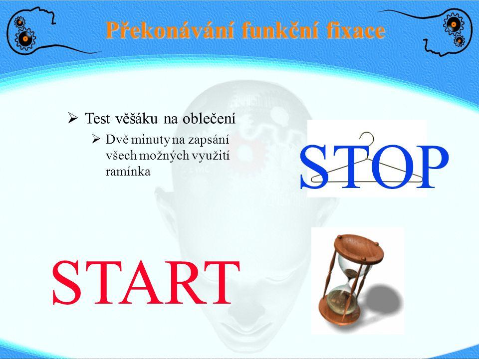 Překonávání funkční fixace  Test věšáku na oblečení  Dvě minuty na zapsání všech možných využití ramínka STOP START