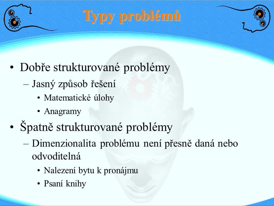 Typy problémů Dobře strukturované problémy –Jasný způsob řešení Matematické úlohy Anagramy Špatně strukturované problémy –Dimenzionalita problému není