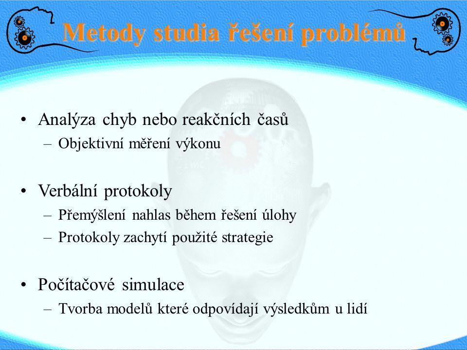 Metody studia řešení problémů Analýza chyb nebo reakčních časů –Objektivní měření výkonu Verbální protokoly –Přemýšlení nahlas během řešení úlohy –Pro