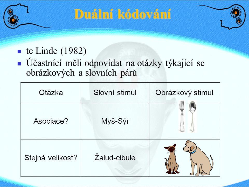 Duální kódování te Linde (1982) Účastnící měli odpovídat na otázky týkající se obrázkových a slovních párů OtázkaSlovní stimulObrázkový stimul Asociac