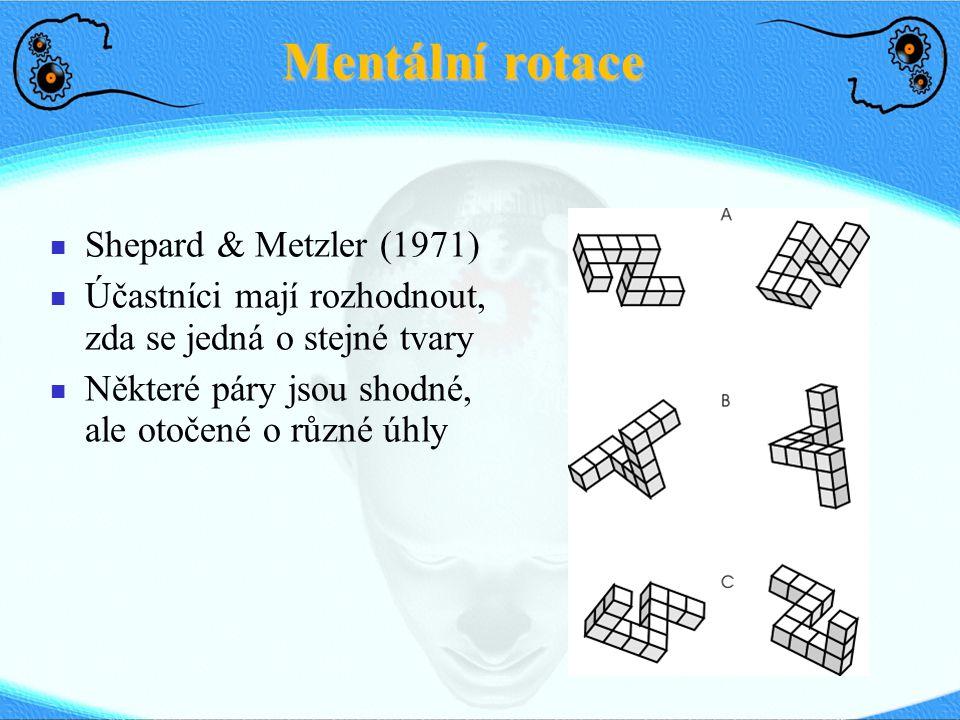 Mentální rotace Shepard & Metzler (1971) Účastníci mají rozhodnout, zda se jedná o stejné tvary Některé páry jsou shodné, ale otočené o různé úhly