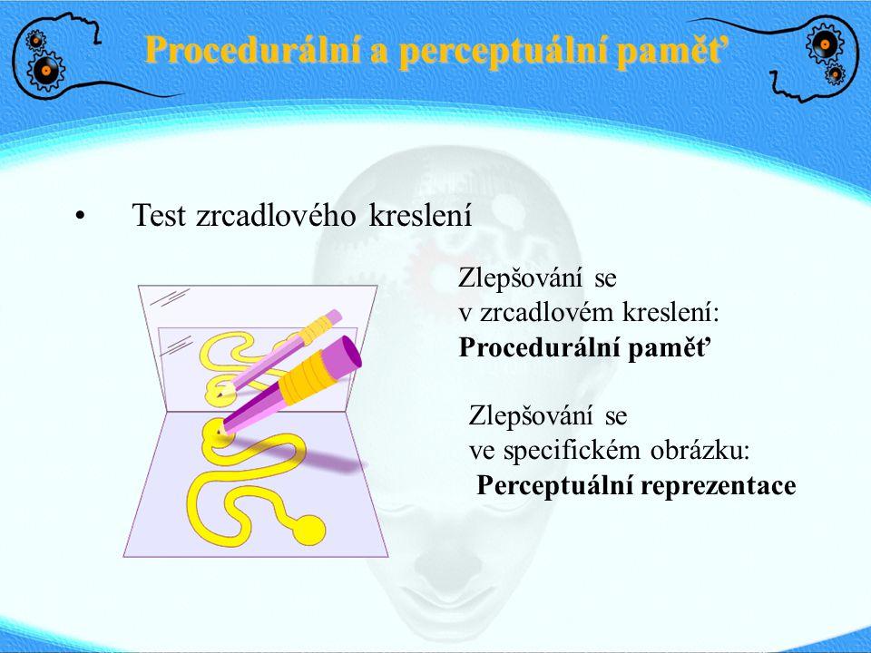 Procedurální a perceptuální paměť Test zrcadlového kreslení Zlepšování se v zrcadlovém kreslení: Procedurální paměť Zlepšování se ve specifickém obrázku: Perceptuální reprezentace