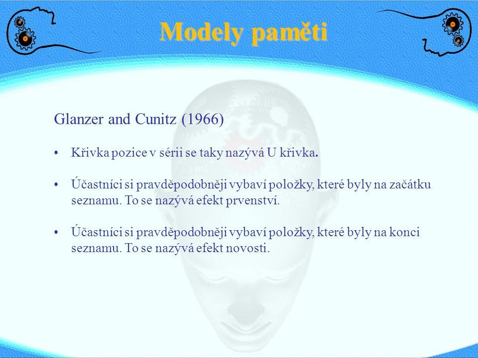 Modely paměti Glanzer and Cunitz (1966) Křivka pozice v sérii se taky nazývá U křivka.