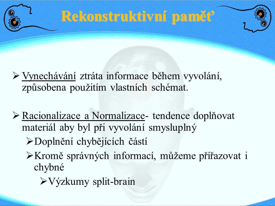 Rekonstruktivní paměť  Vynechávání ztráta informace během vyvolání, způsobena použitím vlastních schémat.