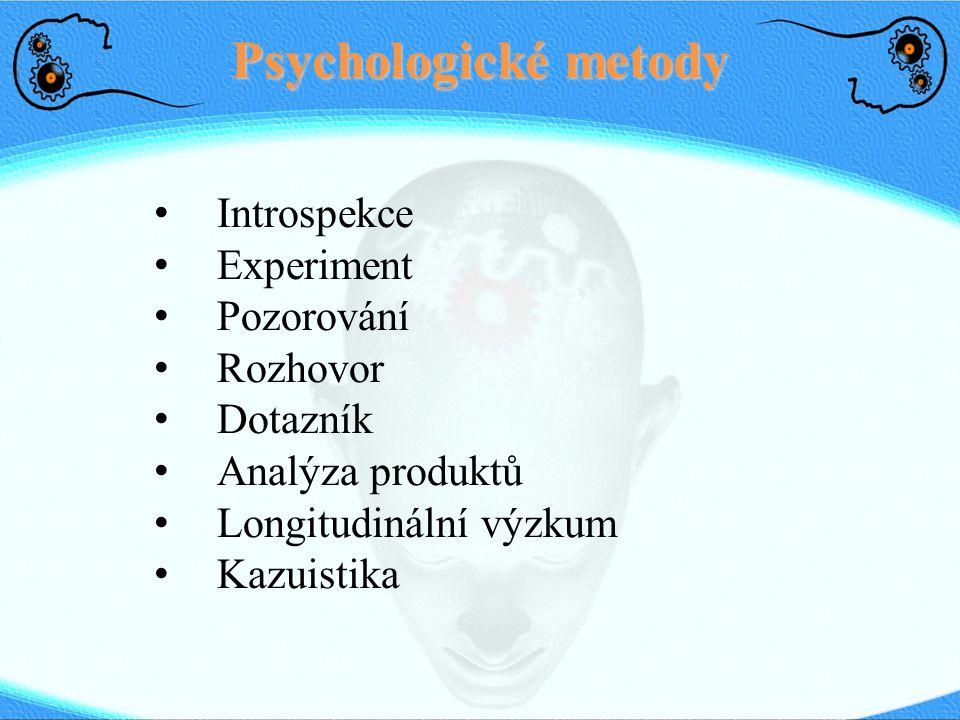 Psychologické metody Introspekce Experiment Pozorování Rozhovor Dotazník Analýza produktů Longitudinální výzkum Kazuistika