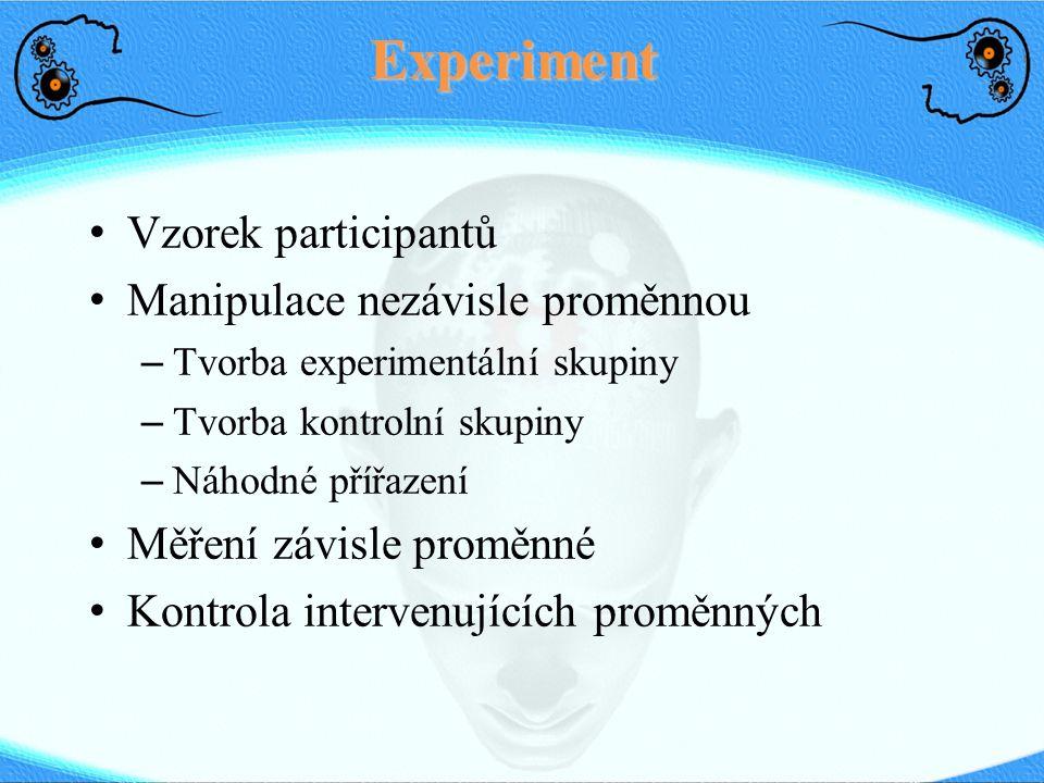 Experiment Vzorek participantů Manipulace nezávisle proměnnou – Tvorba experimentální skupiny – Tvorba kontrolní skupiny – Náhodné přířazení Měření závisle proměnné Kontrola intervenujících proměnných