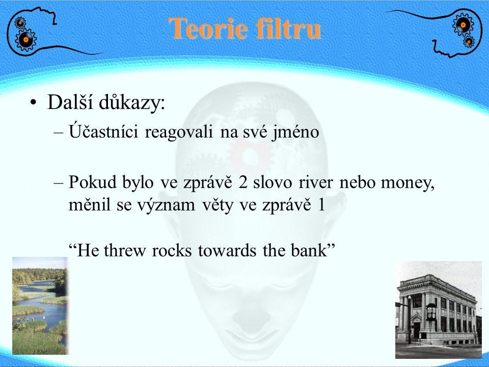 Teorie filtru Další důkazy: –Účastníci reagovali na své jméno –Pokud bylo ve zprávě 2 slovo river nebo money, měnil se význam věty ve zprávě 1 He threw rocks towards the bank