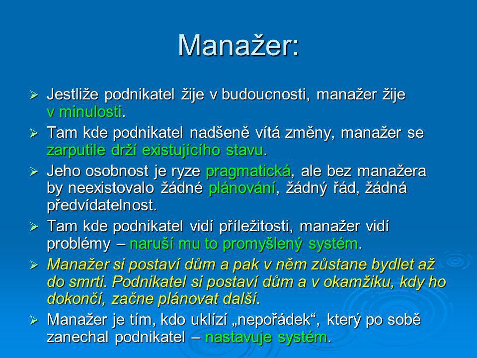 Manažer:  Jestliže podnikatel žije v budoucnosti, manažer žije v minulosti.  Tam kde podnikatel nadšeně vítá změny, manažer se zarputile drží existu