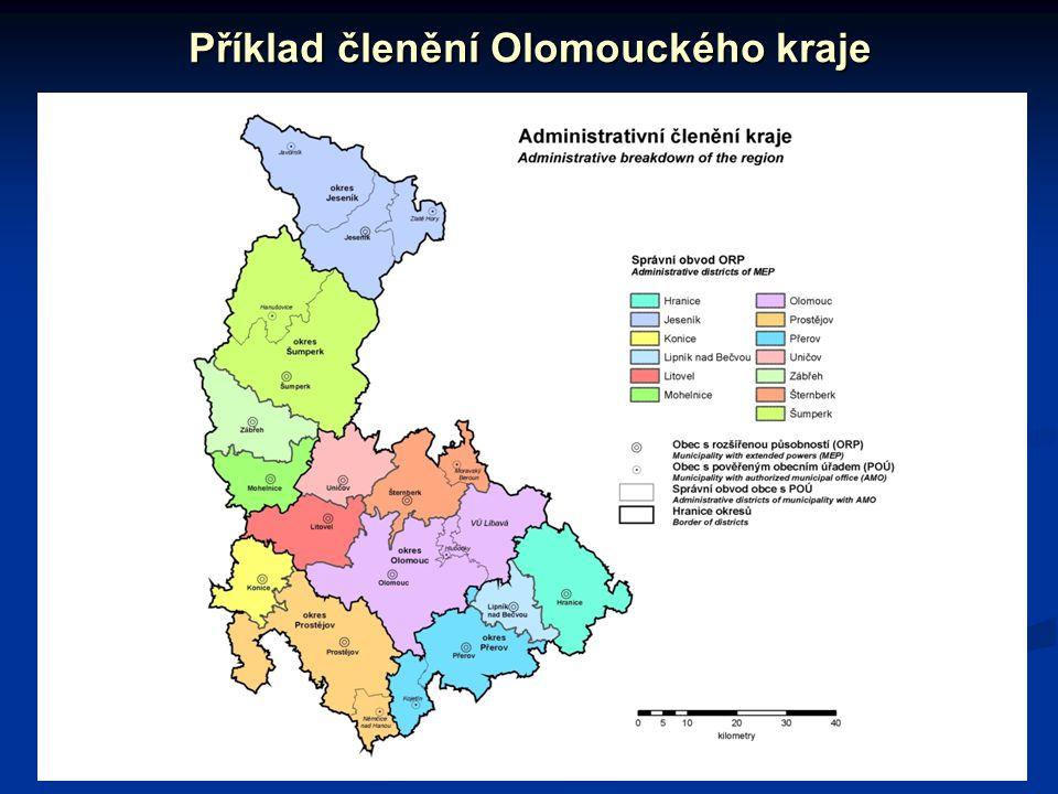 Příklad členění Olomouckého kraje